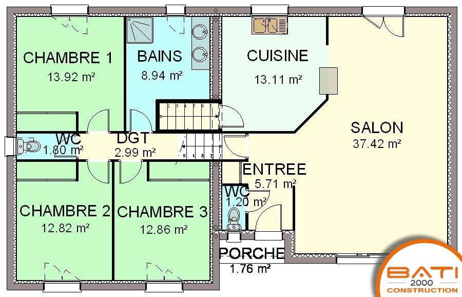 Charmant Plan Maison Demi Sous Sol Traditionnelle 111m²   3 Chambres
