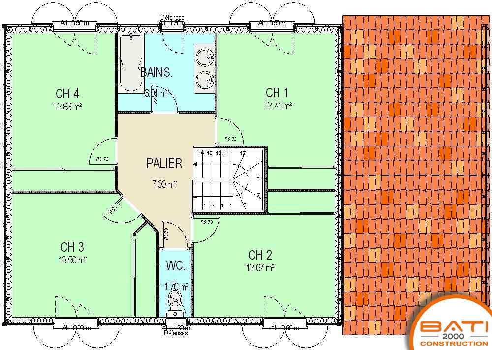 Realisation Des Plans De Construction A Buxerolles Maison Individuelle Etage Maison Individuelle Etage Plan Maison Ossature Bois A Etage 130 M 4 Chambres