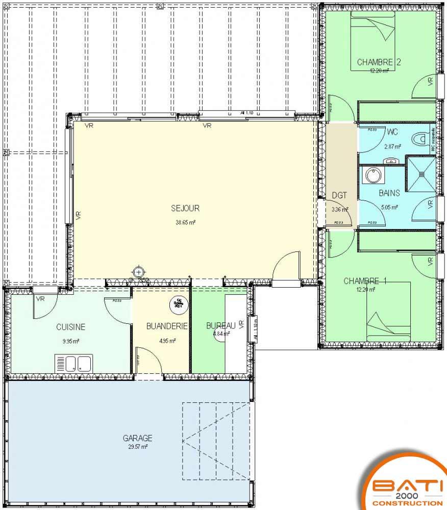 Realisation Des Plans De Construction A Buxerolles Maison Individuelle Etage Maison Individuelle Etage Plan Maison Ossature Bois De Plain Pied 94 M 2 Chambres
