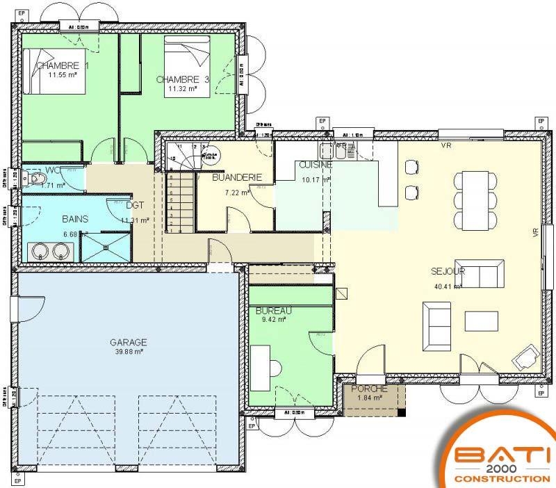 R alisation des plans de construction buxerolles - Plan etage 4 chambres ...